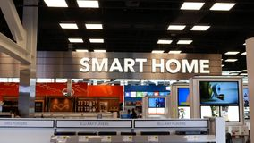 Motion of smart home sign and display technology items for sale stock video