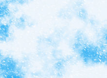 Motion snowfall on a blue sky backgrounds Royalty Free Stock Images