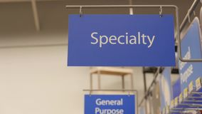 Motion of specialty sign on new smart bulb section stock footage