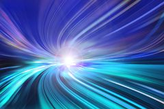 Motion speed light tail effect with modern city in background royalty free stock photography