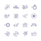Motion and speed linear icons. Slow and fast vector signs Stock Photo