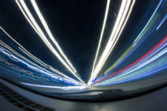 Motion spots -abstract blurred colored lines - a long photo exposure Stock Photos