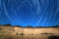Motion of stars around the Pole Star stock photo