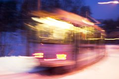 Motion Street Car. An Oslo street car at night with motion blur Royalty Free Stock Photos