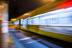 Motion Street tram. An Dresden street tram at night with motion blur Stock Photos