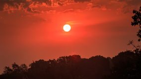 Motion of sun among red sky above tree silhouettes at sunrise stock video