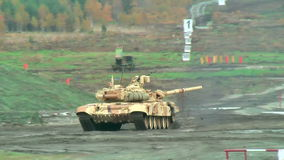 Motion of T90S tank stock video