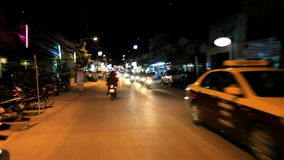 Motion Thai night street on motobike. Koh Samui, stock video