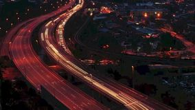 Motion time lapse busy light trail traffic Stock Images