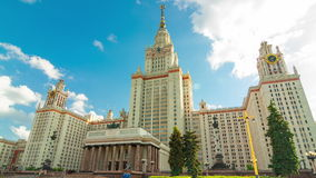 Motion timelapse around the Moscow State Universit stock footage