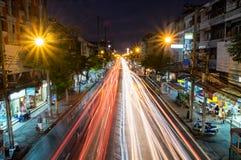 Motion traffic light car in bangkok Stock Image