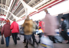 Motion on train station Royalty Free Stock Image