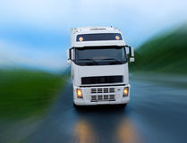 Motion of truck. On the night road Royalty Free Stock Photography