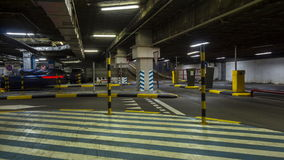 Motion in underground parking of hypermarket  ,time lapse