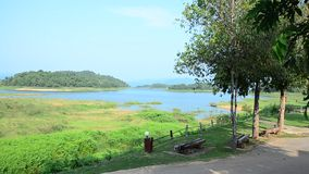 Motion and view of kaeng krachan dam in Phetchaburi, Thailand. stock video footage