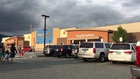 Motion of Walmart store building exterior. stock video