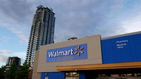 Motion of Walmart store building exterior. stock video footage