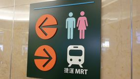 Motion of washroom logo and MRT direction sign. Inside shopping mall stock video footage