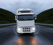 Motion of white truck Stock Image
