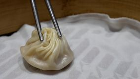 Motion of woman eating soup dumpling buns with chopsticks in restaurant. In Taipei Taiwan stock video footage