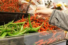 Motion of woman`s hand picking green and red hot pepper inside Superstore Royalty Free Stock Photography