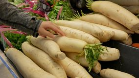 Motion of woman`s hand picking radish inside Superstore. In Coquitlam BC Canada stock video