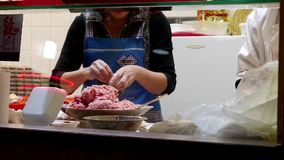 Motion of worker making steamed buns stock footage
