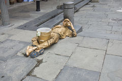 Motionless Living Gold Statue Street Artist Royalty Free Stock Photos