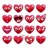 Émotions drôles de caractère de coeur de bande dessinée réglées Images stock