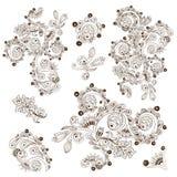 Motiv för snirkel för gravyr för blommamodell för kort Royaltyfria Bilder