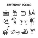 motiv för symboler för födelsedagknappar kulört royaltyfri illustrationer