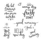Motivação das citações para a vida e a manhã da felicidade ilustração stock