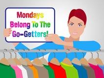 Motivação das vendas de segunda-feira - vendedora Holding Sign - 3d Illustrat ilustração royalty free