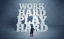 Motivação de trabalho dura para a pessoa do negócio Imagens de Stock