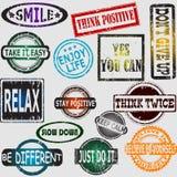 Motivação e carimbos de borracha de pensamento positivos das mensagens ajustados Imagem de Stock Royalty Free