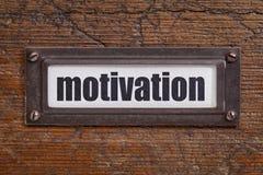 Motivação - etiqueta do armário de arquivo imagens de stock royalty free