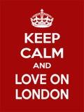 Motivação vermelho-branca retangular vertical o amor no cartaz de Londres baseado no estilo retro do vintage Fotografia de Stock