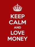 Motivação vermelho-branca retangular vertical o cartaz do dinheiro do amor baseado no estilo retro do vintage Imagens de Stock