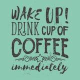 Motivación de la mañana con lema del café Ilustración del vector Imágenes de archivo libres de regalías