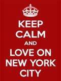 Motivación rojo-blanca rectangular vertical el amor en el cartel de New York City basado en estilo retro del vintage Fotografía de archivo libre de regalías