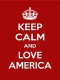 Motivación rojo-blanca rectangular vertical el cartel de América del amor basado en estilo retro del vintage Imagenes de archivo