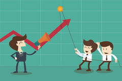 Motivador das estratégias e empregados dos incentivos pelo chefe Imagens de Stock Royalty Free