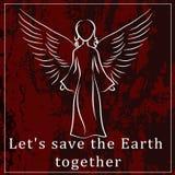 Motivando um cartaz ou uma etiqueta para proteger o planeta enterre o requi Imagens de Stock Royalty Free