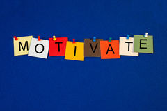 Motivate - sign series for business. / mentoring stock photography