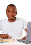 Motivated black student. Attractive motivated black student. All on white background royalty free stock photo