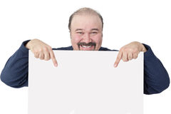 Motivated businessman holding a blank white sign Royalty Free Stock Image