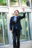 Motivated businessman punching the air Royalty Free Stock Photos