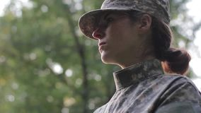 Motivated female soldier. In 1080p stock video