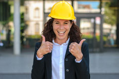 Motivated happy young female architect Stock Photos