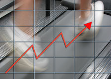 Motivated sales force. Man running on treadmill overlaid with graph Stock Images